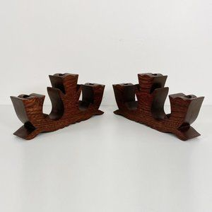 Pair of Vintage Wooden Triple Candle Candelabras